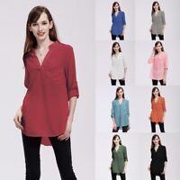 Plus Size Women V-Neck Pocket T-Shirt Long Sleeve Loose Chiffion Tops Blouse