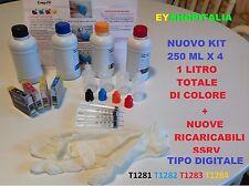CARTUCCE T1281- T1284 RICARICABILI PIENE DI PRONTO USO  + 1 LITRO DI INCHIOSTRO
