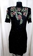 Denise Elle Dress Beads Sequin Silk Vintage Black Holiday Cocktail Sz L #S055