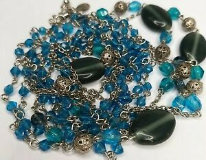 Blue Glass Beads Long Silver Tone Necklace By Express