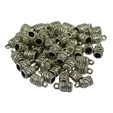 50pcs Tibet Silver Column Bead Caps Cord End Jewelry Findings Craft Beading