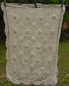 Vintage look 100% cotton Crochet Lace Pillow Sham Cover Cream Envelope back