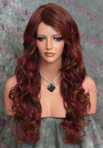 Dark/Red Auburn Extra Long Loose Wavy Curls Heat Safe Human Hair Blend Wig EVBO