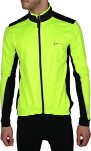 Piu Miglia Soft Shell Mens Cycling Jacket Hi Viz Yellow Fleece Lined Full Zip M