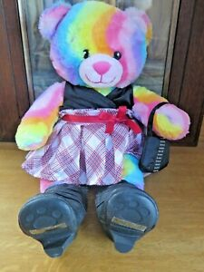 Build A Bear Workshop Plush Rainbow Bear Multicolour with Clothing Roller Skates