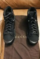 PRE-OWNED GUCCI MENS BLACK HIGH TOP CANVAS /LEATHER LOGO SNEAKERS SIZE 10