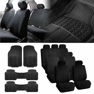 3-row SUV VAN Black Seat Covers 7 Seaters with Black Floor Mats for SUV Van