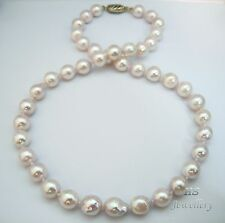 "HS Baroque 9.5X10.5mm Japanese Akoya Cultured Pearl Necklace 18"" 14K W/ Diamonds"