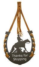 """Reining Horse Black """"Thanks for Stopping"""" Horseshoe"""