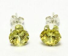 Mens 925 Sterling Silver Yellow Cubic Zirconia CZ Stud Earrings Jewelry