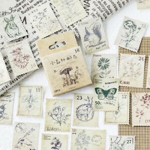 46pcs Vintage Stamps DIY Stickers Kawaii Stationery Scrapbooking Diary Stickers