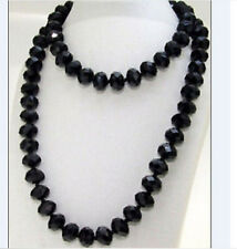 "30"" Knotted Necklace Single Strand Faceted Black Glass Crystal Gemstone Beads"