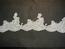 White cords Floral lace trim / dress hemming trim in 174cm length is for sale