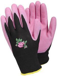 Tegera Ladies Womens Latex Waterproof Palm Gardening Work Gloves Pink / Black