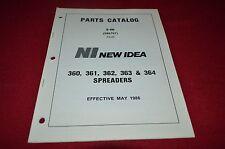 New Idea 360 361 362 363 364 Manure Spreader Dealer's Parts Book Manual BWPA