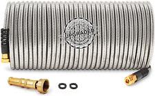 25 Feet 304 Stainless Steel Metal Garden Hose With Solid Brass Nozzle Lightweig