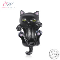 Black Cat Charm Genuine 925 Sterling Silver - Animal Lover Gift 💞