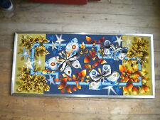 1970s Modern art tapestry atomic Butterflies  112 x 49 cms
