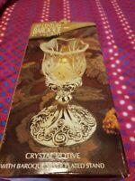 20th Century Baroque by Godinger Cristal Votive with Baroque Silver Plated Stand