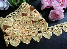 1 1/4 inch wide Embroidered gold color Lace Trim price per yard