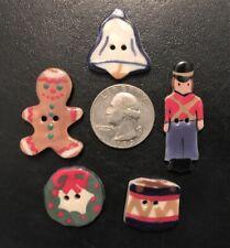 vintage 5 Ceramic Christmas Buttons- Drum,Bell,Wreath,Nutcracker,Gingerbread Boy