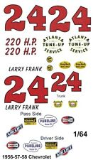 #24 Larry Franks 1956-58 CHEVROLET 1/64th HO Scale Slot Car Waterslide Decals