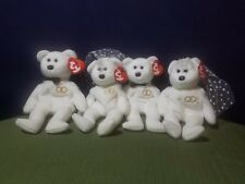 4x Mr. & Mrs. The Bride and Groom TY Beanie Baby Bear Wedding Day Mega Lot