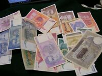 Lot of 20 diff. Genuine  Jugoslavia Banknotes,one 1941,others about 1990s.