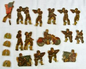 Lot Vintage Cardboard Litho Army Soldiers Infantry