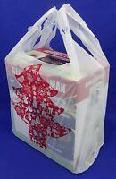 "Red Christmas Tree Holiday Plastic T-Shirt Shopping Bags 11.25"" x 6"" x 21"" Merry"