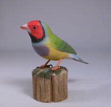 Gouldian Finch (Red-head) Original Bird Carving/Birdhug