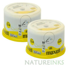 100 Maxell Blank CD-R discs 80Min 700MB White Inkjet Printable 624006 Cakebox