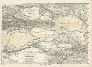 1889 Petermann map: Preswalski's Explorations in Central Asia