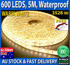 Waterproof 600 LED Warm White DC 12V 5M 3528 SMD Flexible Strip Lights + Dimmer