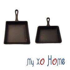 MyXOHome Rectangular Cast Iron Frying Pan / Skillet w/Handle (Set of 2) 1 Set