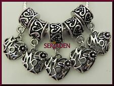 5 Mom Heart Dangle Charms  Fits European Style Jewelry 13 * 28 & 5 mm Hole  S184