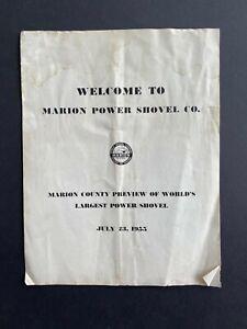 MARION - Debut of 5760 Stripping Shovel - Vintage 1955 Program Brochure Orig 70s
