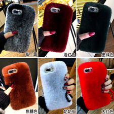 Luxury Pearl Strap Diamond Fuzzy Rabbit Fur Case Cover for iPhone XS Max XR 7 8+