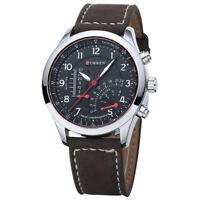 CURREN Wasserdicht Herren Quarzuhr Lederband Armbanduhr Sportuhr, Schwarz I7K2