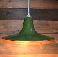 "Vintage Benjamin Green Porcelain Enamel Barn Flat Light Fixture 18"" Gas Station"