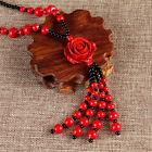 Handcrafted grande rojo laca rosa collar con colgante
