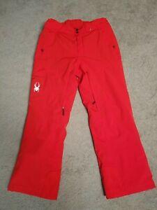 Spyder Men's Troublemaker Snow Pants Size L Large Red Orange Nice!! Bibs Ski Ice