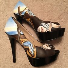 Hand Painted Salvador Dali 'The Persistence Of Memory' One-Of-A-Kind Pumps Heels