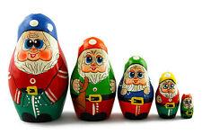 Matryoshka Russian Nesting Doll Babushka Matrioska Matrioshka Dwarfs Gnomes 5 Pc