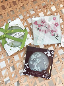 Set Of 2 Glass Round/Square White/Green/Pink Floral Coasters Gift Set