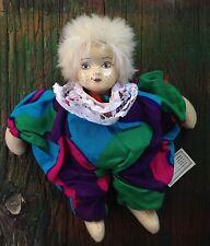 Artists' Clown collectors doll Porcelain or Ceramic head, cloth body Handmade