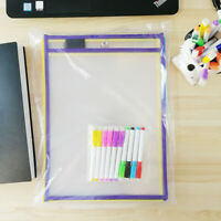 "Reusable Dry Erase Sheet Protectors Sleeves W/ Markers 10.25x14"" Choose Quantity"