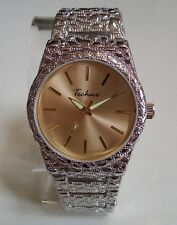 Men's Techno Silver Finish Iced Gold Dial Full Nugget Style Fashion Wrist Watch