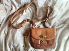 BN FOSSIL MASON Two Tone BROWN LEATHER, BRASS CROSS BODY BAG