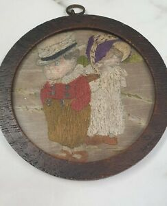 antique small round oak framed embroidery